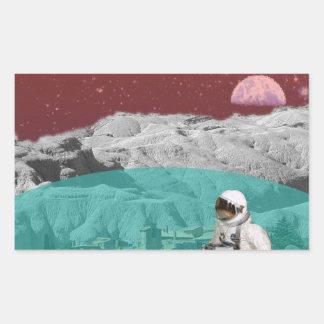 Astronauta lunar de la colonia con el perro pegatina rectangular