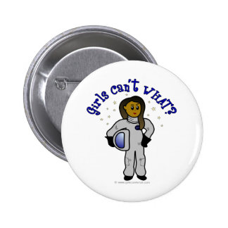 Astronauta oscuro del chica pin redondo 5 cm