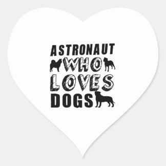 astronauta que ama perros pegatina en forma de corazón