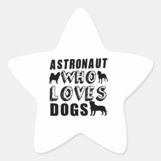 astronauta que ama perros pegatina en forma de estrella