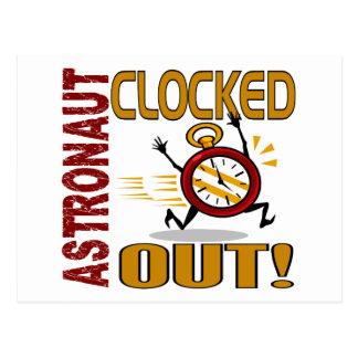 Astronauta registrado hacia fuera postal