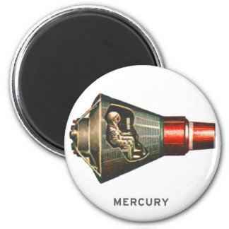Astronauta retro de Mercury de la cápsula del kits Imán Redondo 5 Cm