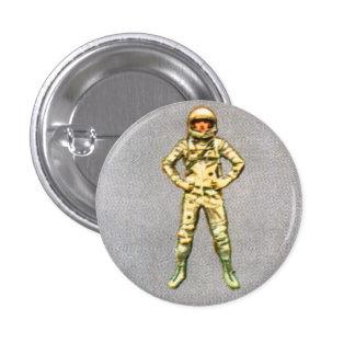 Astronauta retro del espacio del kitsch 60s del vi pin redondo de 1 pulgada