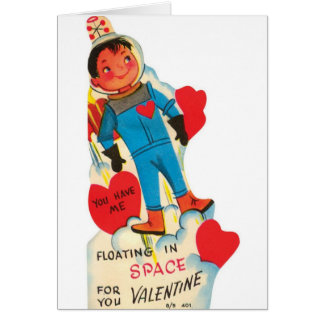 Astronauta retro en tarjeta del el día de San Vale