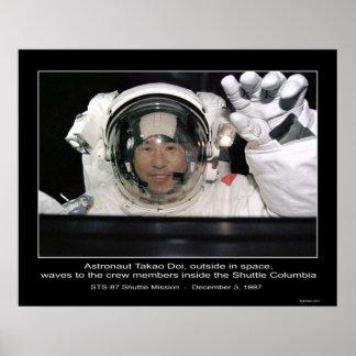 Astronauta Takao Doi, transbordador espacial exter Póster