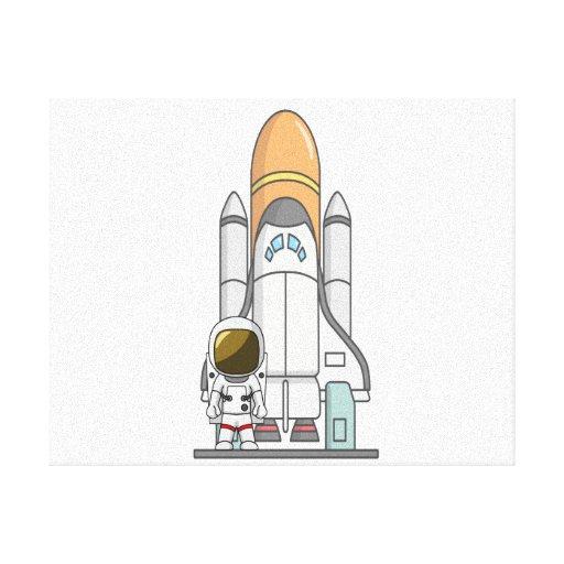 Astronauta y nave espacial lona envuelta para galerías