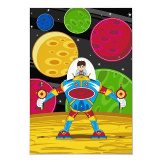 """Astronauta y robot de Mecha en superficie del Invitación 3.5"""" X 5"""""""