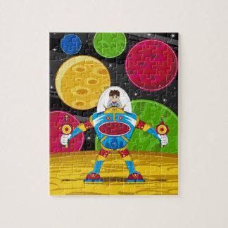 Astronauta y robot de Mecha en superficie del plan Rompecabeza