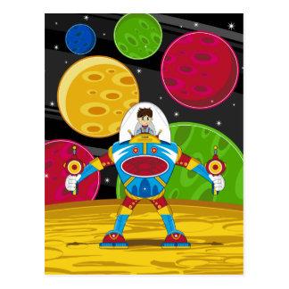 Astronauta y robot de Mecha en superficie del Tarjeta Postal