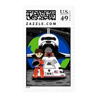 Astronauta y sello del transbordador espacial
