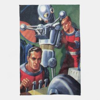 Astronautas de la ciencia ficción del vintage con toalla de mano