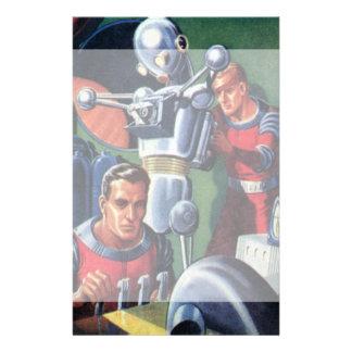 Astronautas de la ciencia ficción del vintage con papeleria de diseño