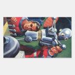 Astronautas de la ciencia ficción del vintage con  pegatina