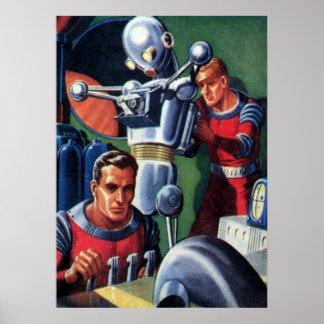 Astronautas de la ciencia ficción del vintage con póster