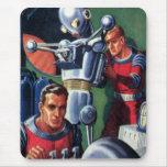 Astronautas de la ciencia ficción del vintage con alfombrillas de ratones