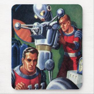 Astronautas de la ciencia ficción del vintage con tapetes de ratones