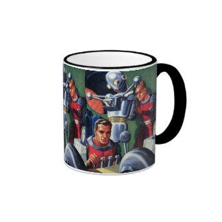 Astronautas de la ciencia ficción del vintage con  tazas