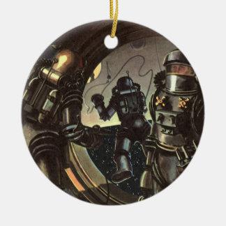 Astronautas de la ciencia ficción del vintage en adorno redondo de cerámica
