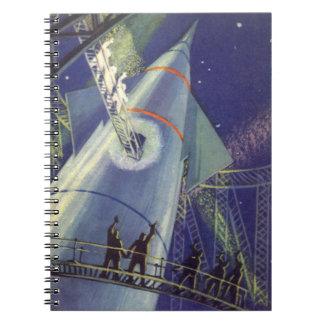 Astronautas de la ciencia ficción del vintage en libretas espirales