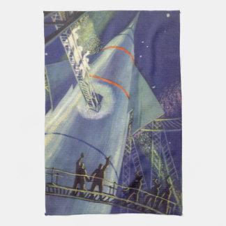 Astronautas de la ciencia ficción del vintage en toallas de mano