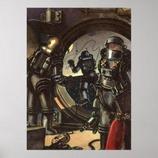 Astronautas de la ciencia ficción del vintage en póster
