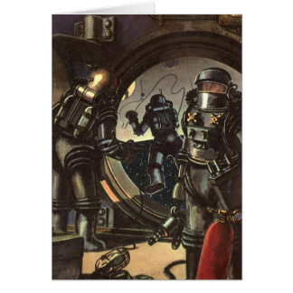 Astronautas de la ciencia ficción del vintage en felicitacion