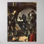 Astronautas de la ciencia ficción del vintage en u impresiones