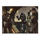 Astronautas de la ciencia ficción del vintage en u tarjeta postal