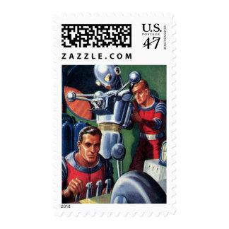 Astronautas de la ciencia ficción del vintage que sello
