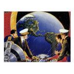 Astronautas de la ciencia ficción del vintage que tarjeta postal