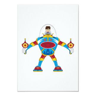 """Astronautas en el robot gigante de Mecha Invitación 3.5"""" X 5"""""""