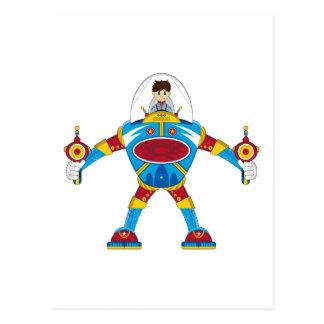 Astronautas en el robot gigante de Mecha Postales