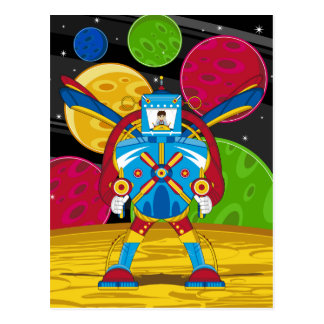 Astronautas en el robot gigante de Mecha Tarjeta Postal