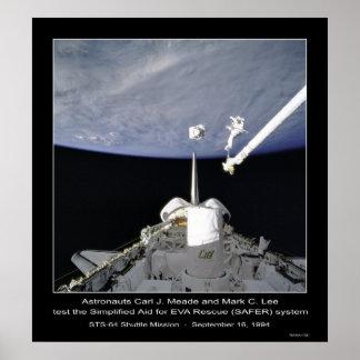 Astronautas Meade y misión en la que participa un  Póster