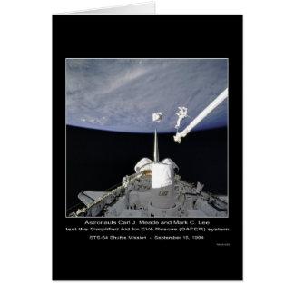 Astronautas Meade y misión en la que participa un  Tarjeta De Felicitación