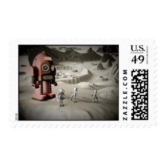 Astronautas Postag diseñado retro del robot y del Sello