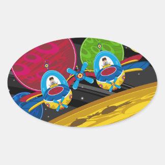 Astronautas que vuelan la nave espacial sobre el pegatina ovalada
