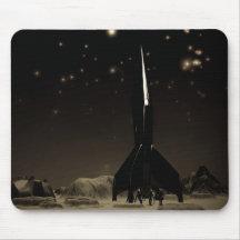 Astronautas y Rocketship Mousepad Tapete De Ratones