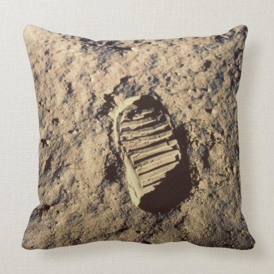 Astronaut's Footprint Throw Pillow