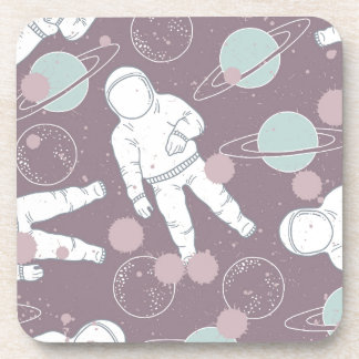 Astronauts in Space Pattern Beverage Coaster