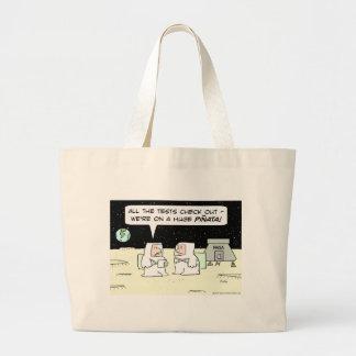 astronauts nasa moon pinata earth large tote bag