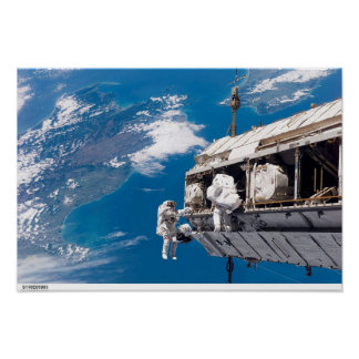 Astronauts On A Spacewalk Poster