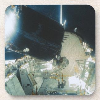Astronauts Repairing a Satellite in Space Beverage Coasters