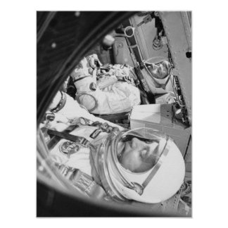Astronauts seated inside Gemini 3 Poster