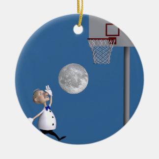 Astronomer Playing Basketball Ceramic Ornament