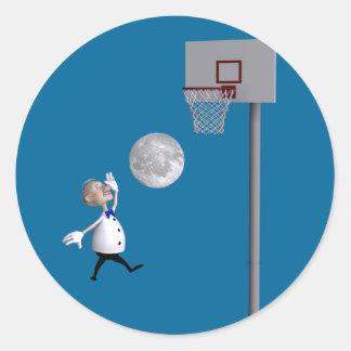 Astronomer Playing Basketball Classic Round Sticker