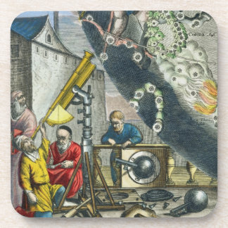 Astronomers looking through a telescope, detail fr drink coaster