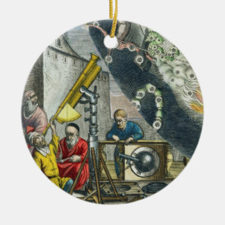 Astronomers looking through a telescope, detail fr ornaments