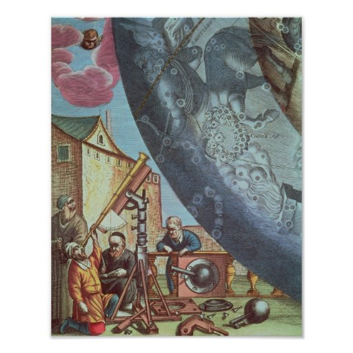 Astronomers looking through a telescope poster