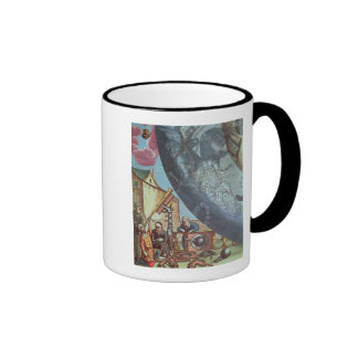 Astronomers looking through a telescope ringer coffee mug